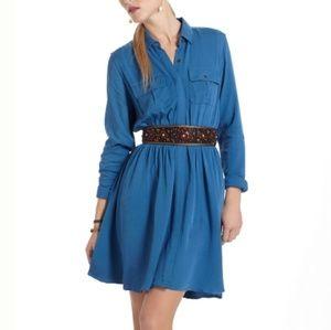 Maeve Anthropologie Button Shirt Dress S Blue